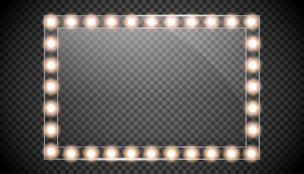 금 빛으로 고립 된 거울입니다. 사각형 프레임 그림입니다. 프리미엄 벡터