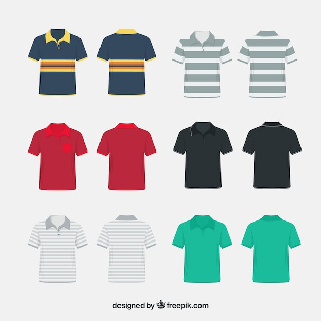 Miscelaneous pattern polo shirt collection Free Vector