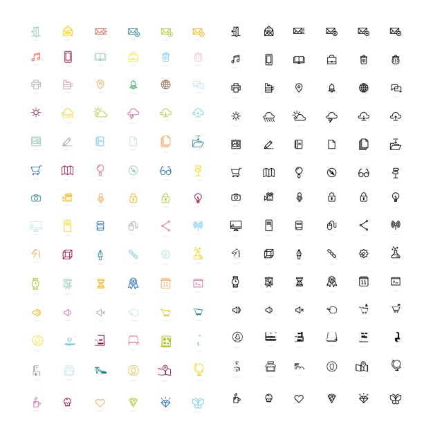 Miscellaneous icon collection Free Vector