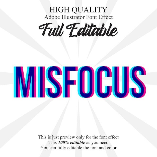 Misfocus text style  font effect Premium Vector