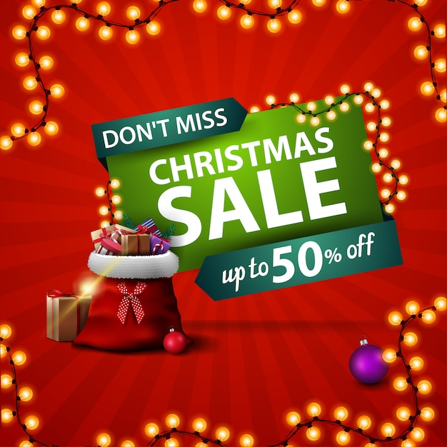 Don't miss, christmas sale, square red discount banner with santa claus bag with presents Premium Vector