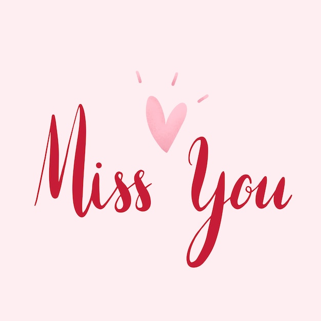 Miss you typography vector in red Free Vector
