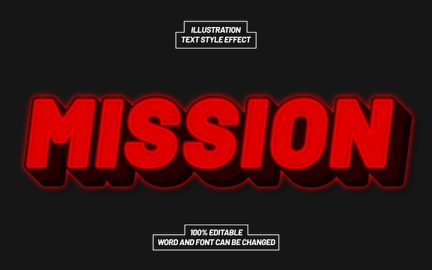 Mission Red Bold Text Style Effect 프리미엄 벡터