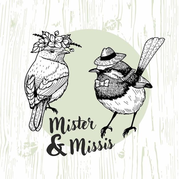 Mister and missis bird hand drawn illustration Premium Vector