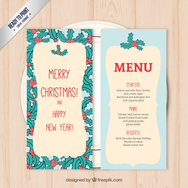 mistletoe christmas menu template premium vector