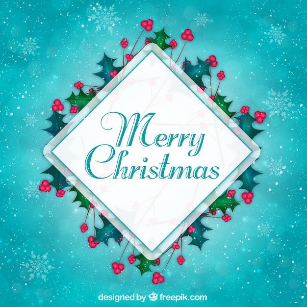 菱形とmistletoesブルークリスマスの背景 無料ベクター