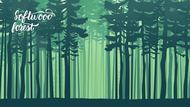 流行に敏感なレトロなスタイルのモミの森と霧。常緑針葉樹のある森林に覆われた山の斜面。 Premiumベクター