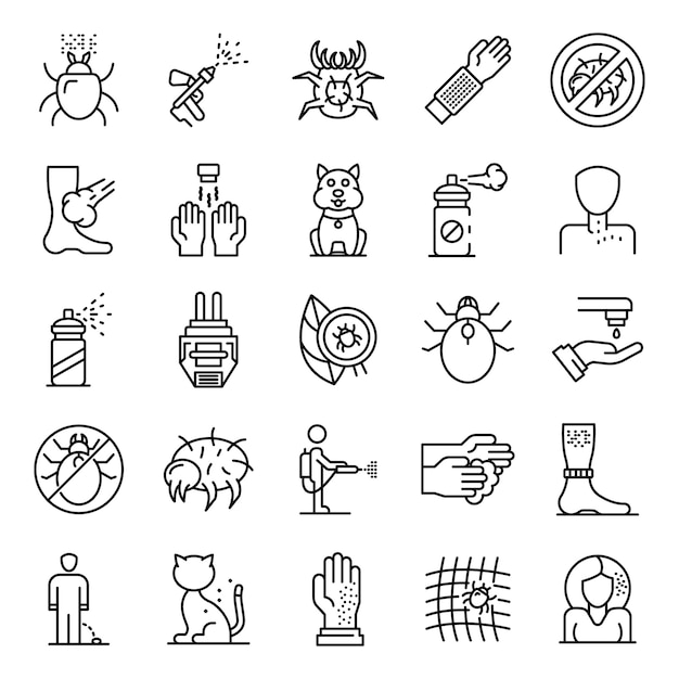 Mite icons set, outline style Premium Vector