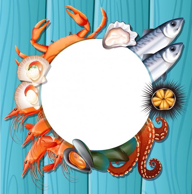 Mix fresh seafood template Premium Vector