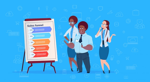 Mix race businesspeople team hold flip chart data cloud sales funnel with steps stages business infographic Premium Vector