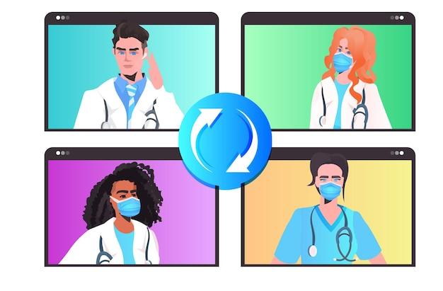 ビデオ通話のオンライン相談仮想会議の戦いの間に議論しているマスクの混血医師 Premiumベクター