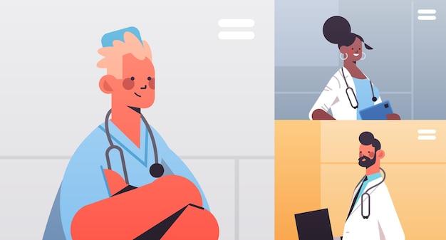 ビデオ会議中に議論しているウェブブラウザウィンドウでレースドクターをミックス医療ヘルスケアオンラインコミュニケーションの概念水平肖像画ベクトル図 Premiumベクター