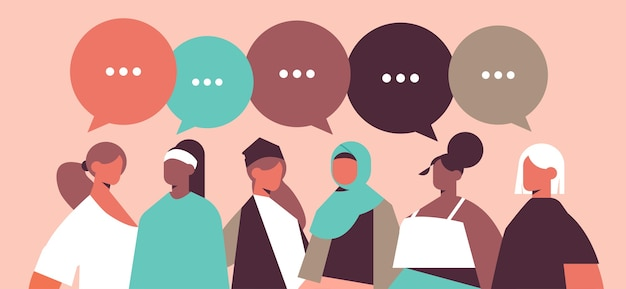 Mix race girls with speech bubbles discussing during meeting communication women's power union of feminists concept horizontal portrait vector illustration Premium Vector