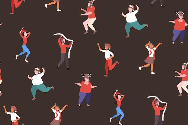 Смешанная гонка люди танцуют весело с рождеством праздник празднование корпоративная вечеринка концепция бесшовные модели векторная иллюстрация Premium векторы