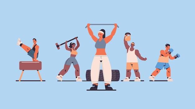 체육관 피트니스 훈련 건강한 라이프 스타일 개념에서 운동하는 육체적 인 운동을하는 인종 사람들을 혼합 프리미엄 벡터