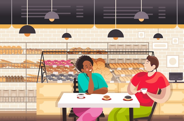 Mix race people drinking coffe in bakery couple discussing during breakfast restaurant interior portrait horizontal vector illustration Premium Vector
