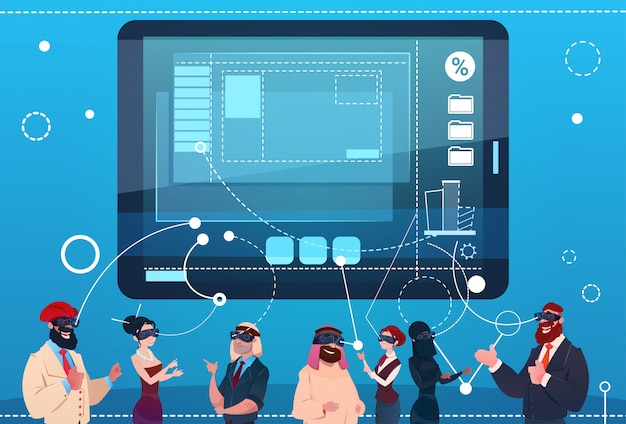 Mix race people group using gadgets chat social network communication concept Premium Vector