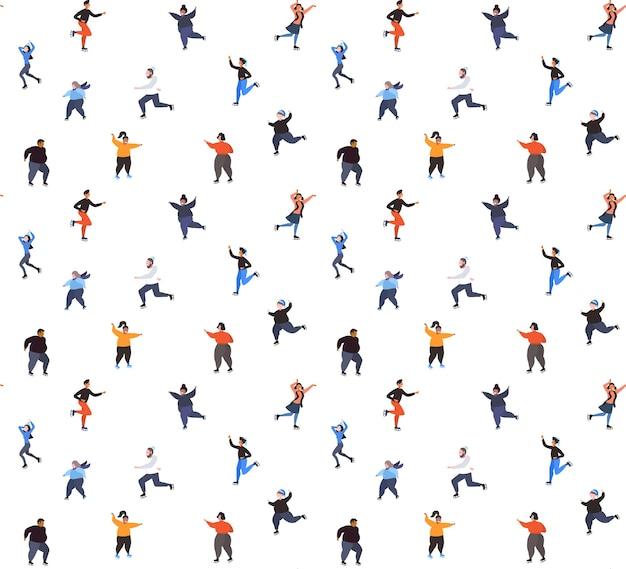 Смешанная гонка люди катаются на коньках на катке зимние виды спорта деятельность отдых в праздники концепция бесшовные модели полная длина векторные иллюстрации Premium векторы