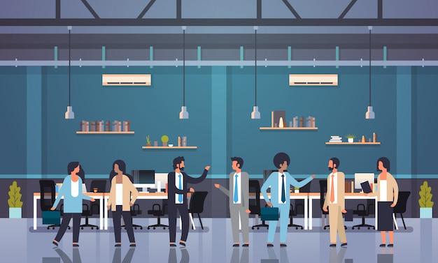 Mix race people teamwork communication brainstorming concept business men women working meeting modern office interior Premium Vector