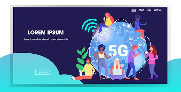 Mix race people using digital devices 5g online wireless systems connection fifth innovative generation of high speed internet concept Premium Vector