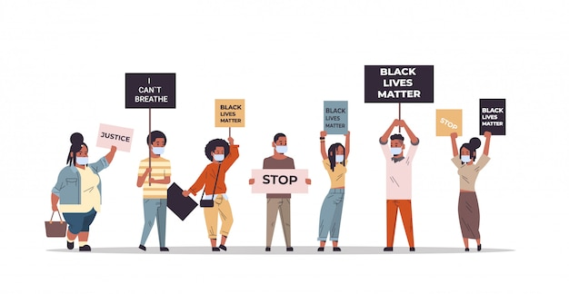 人種差別の人種差別の社会問題に抗議する人種差別主義者と黒人生活の問題のバナーを混合する Premiumベクター