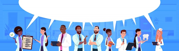 Mix race team of doctors standing over white Premium Vector