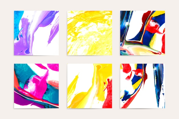 Mixed acrylic paintings Free Vector