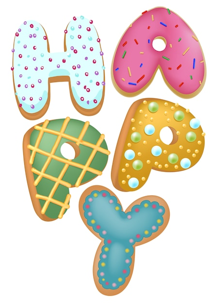 Mixed color donut happy insignia, top view, for bakery shop present, happy birthday concept. Premium Vector