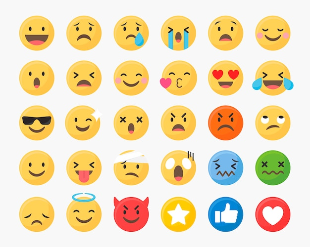 Mixed emoji set Free Vector