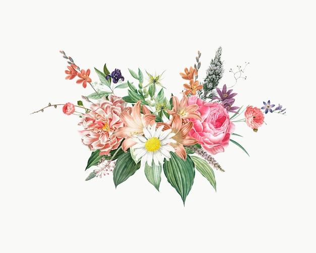 Mixed flower bouquet Free Vector