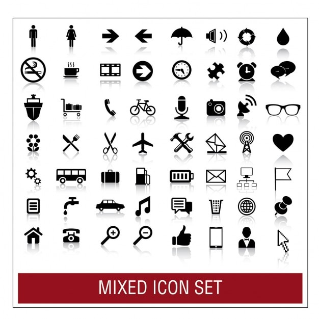 Mixed icon set Free Vector