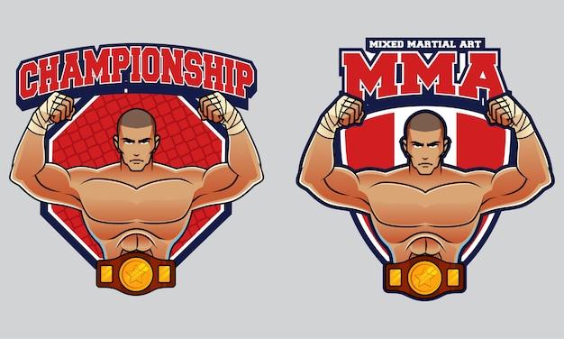 Mixed martial art logo Premium Vector
