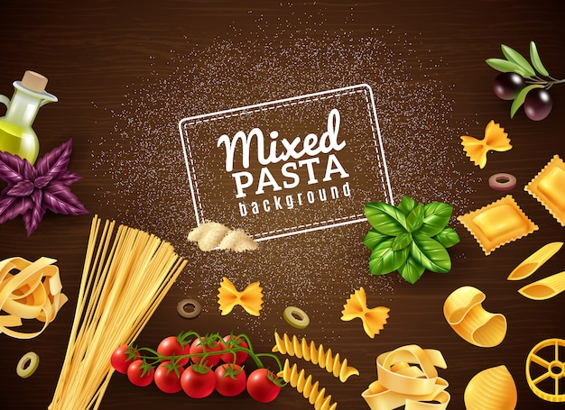 Mixed pasta background Free Vector