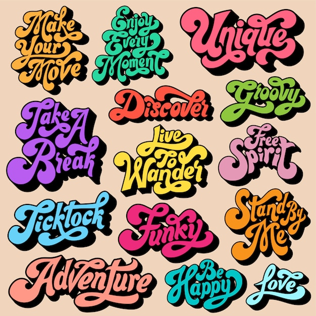 Mixed set of motivational typography Free Vector