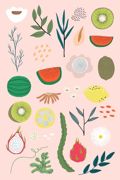 Mixed summer fruits Free Vector