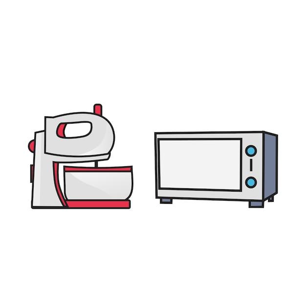 Смеситель и микроволновая печь Premium векторы