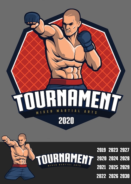 Mma fighter design for badge and logo Premium Vector