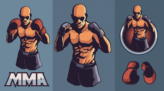 Mma fighter with optional boxing gloves Premium Vector