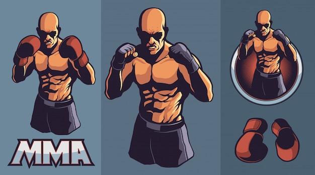 Mma fighter с дополнительными боксерскими перчатками Premium векторы