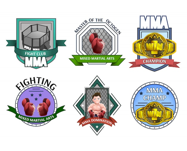 Mma fighting emblems labels set Free Vector