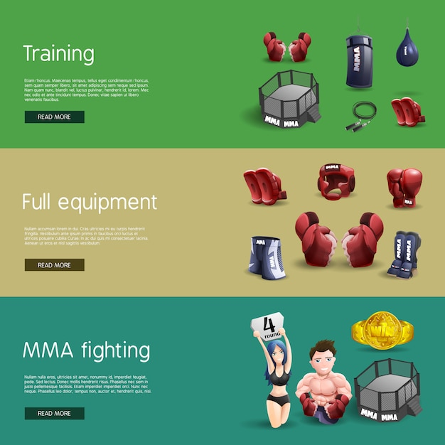 Mma fighting interactive 3d banners set