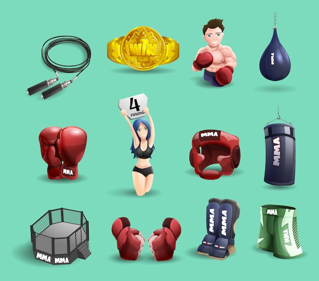 Mma fights 3d icons set Free Vector