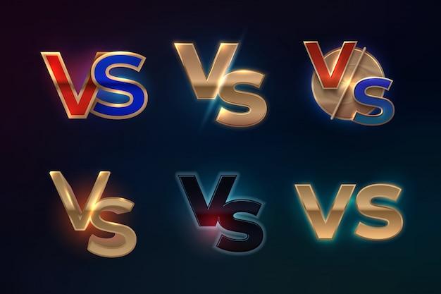 対ロゴセット。スポーツの競争、mmaボクシングの戦いの試合画面、ゲームのコンセプトのvs文字。対バナー Premiumベクター