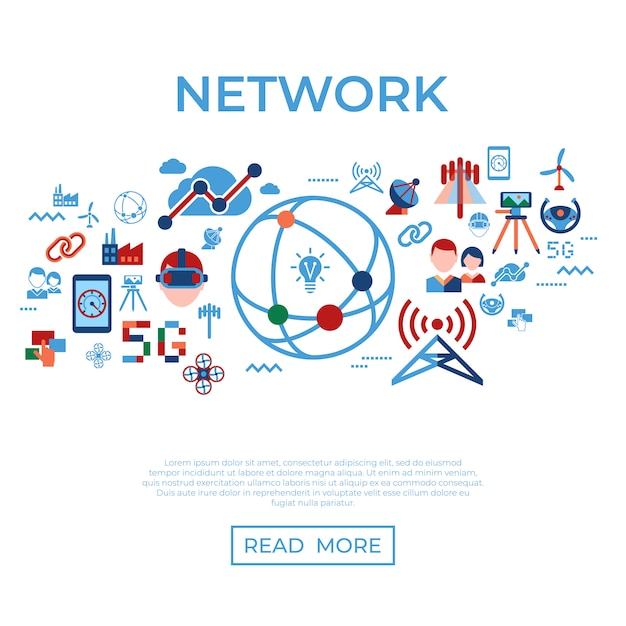 Mobile 5g technology and network icons collection Premium Vector