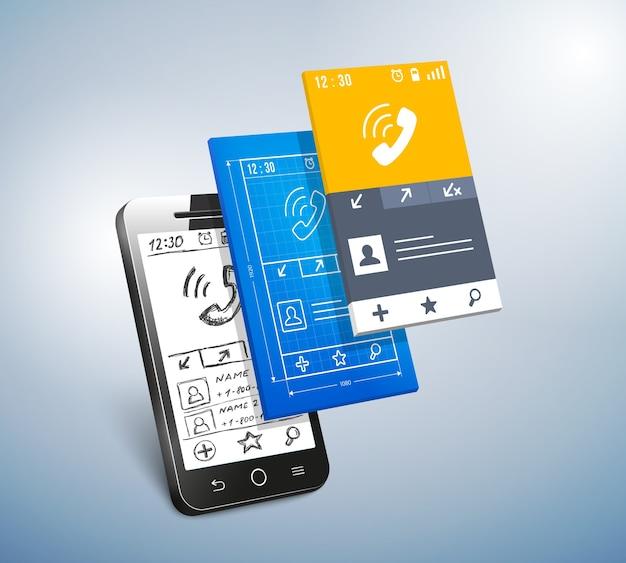 モバイルアプリとウェブ開発の概念のベクトル図 無料ベクター