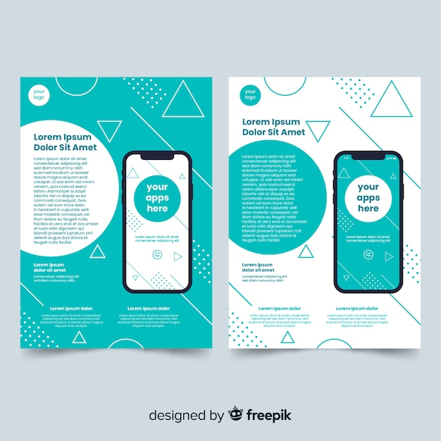Mobile app brochure template Free Vector