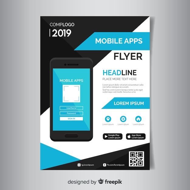 モバイルアプリのパンフレットのテンプレート 無料ベクター