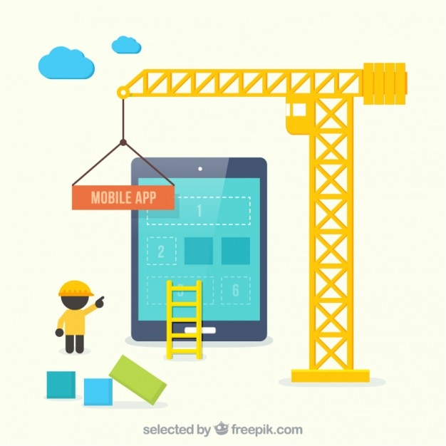 Mobile app construction vector free download for House construction app