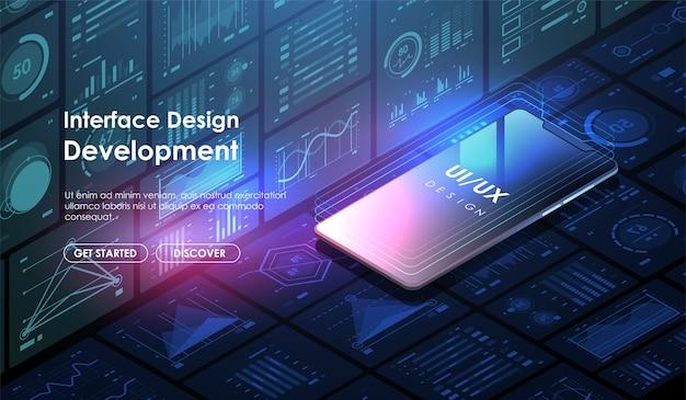 Разработка мобильных приложений и. концепция дизайна пользовательского интерфейса ui / ux. макет шаблона сайта. Premium векторы