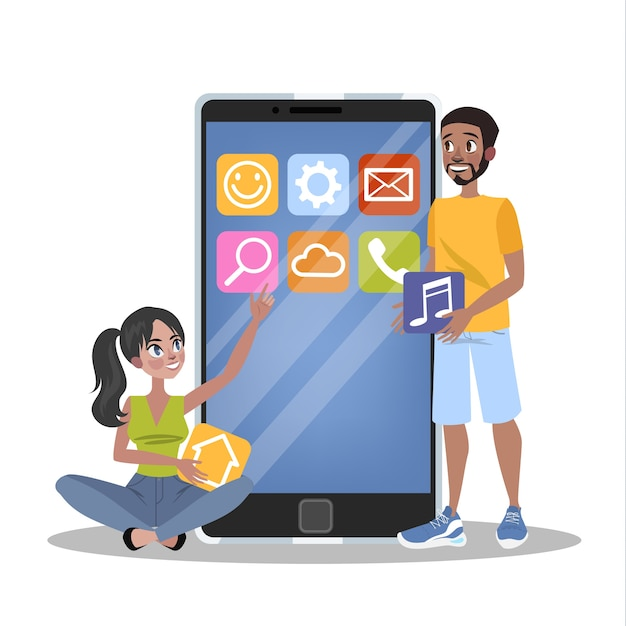Mobile app development concept. modern technology and smartphone interface . application building and programming.    illustration Premium Vector